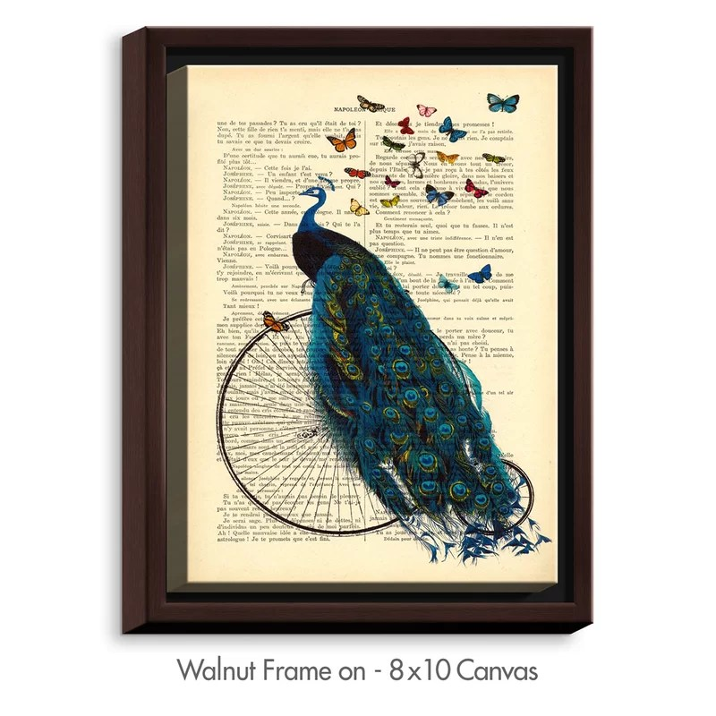 Peacock Bicycle Butterflies by Madame Memento Graphic Art on Wrapped Framed Canvas Size: 15.75 H x 12.75 W x 1.75 D Frame Color: Walnut