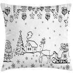East Urban Home Christmas Tree Ornaments With Santa Sleigh Rudolph Reindeer Toys Jingle Bells Indoor Outdoor 36 Throw Pillow Cover Wayfair