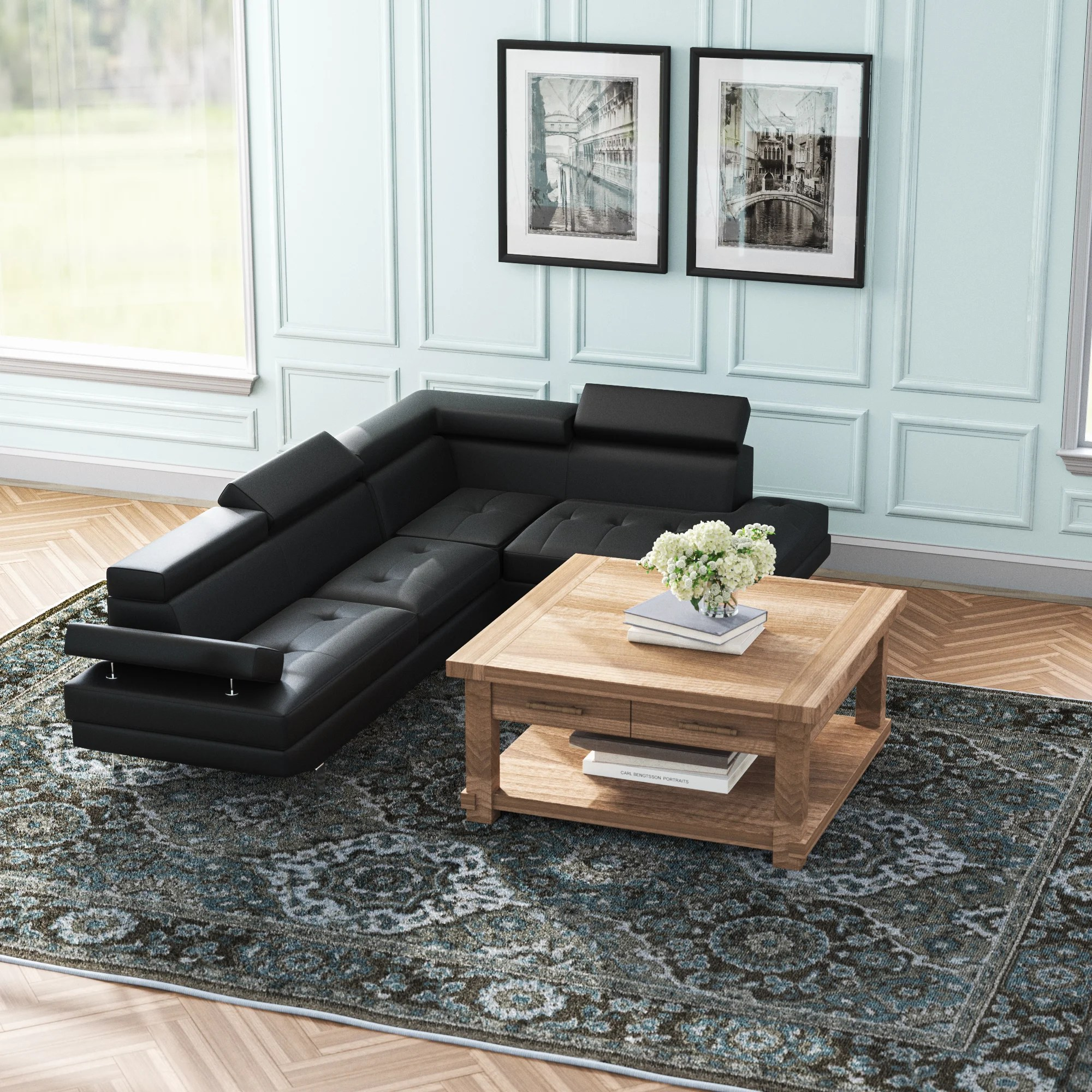 black modern contemporary sectionals