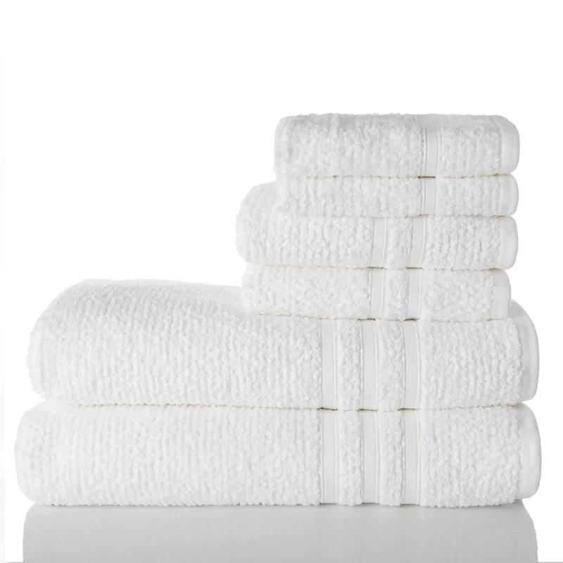 Zero Twist 6 Piece 100%Cotton Towel Set Color: White