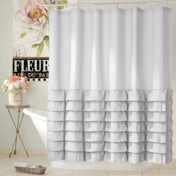 linen ruffle shower curtain