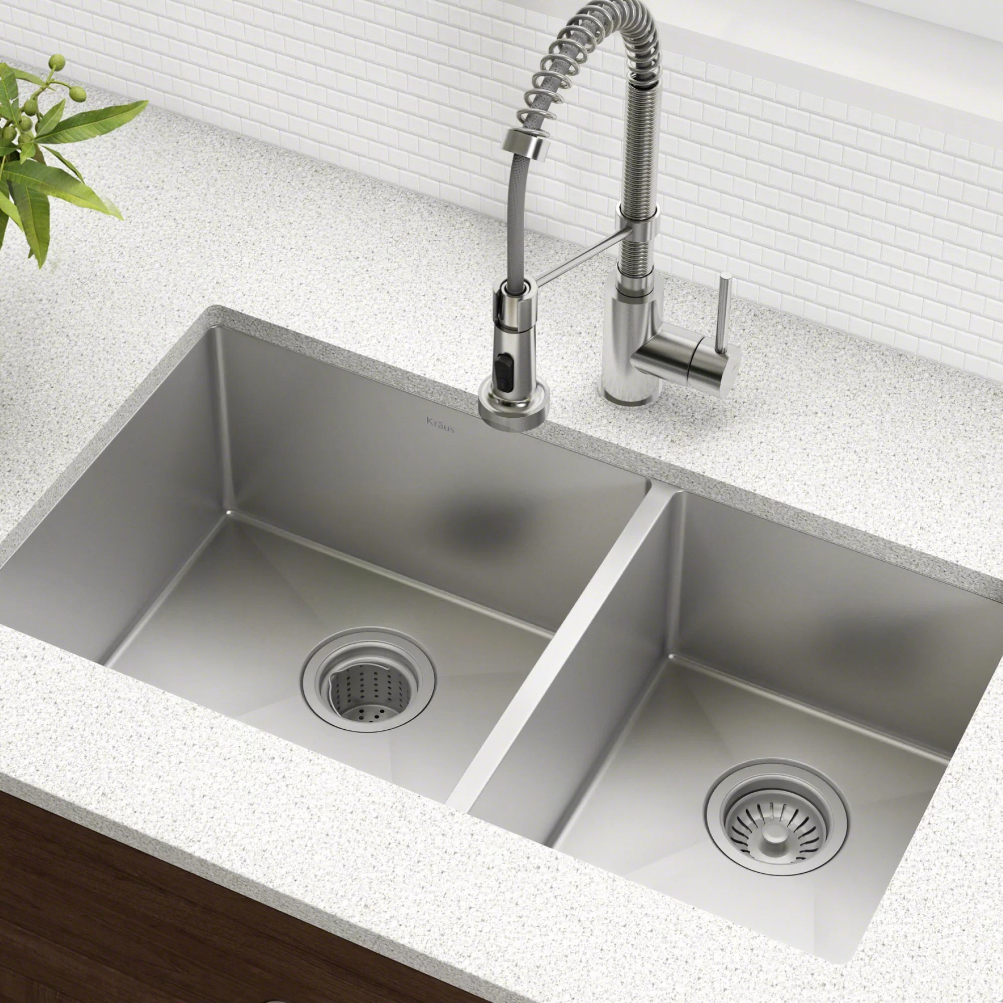 high end kitchen sinks cabinets designs kraus 33 l x 19 w double basin undermount sink with drain assembly reviews wayfair ca