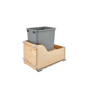 kitchen trash can pull out chair with arms wood cabinet wayfair 10 gallon pullout