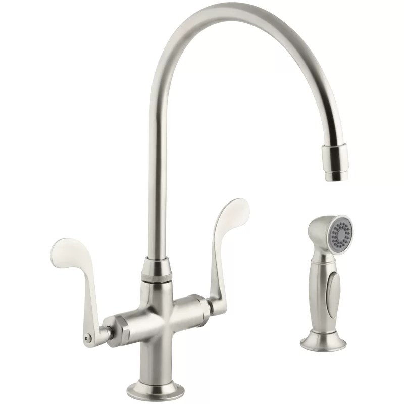 essex glass single hole double handle kitchen faucet with 9 gooseneck spout and accent sidespray
