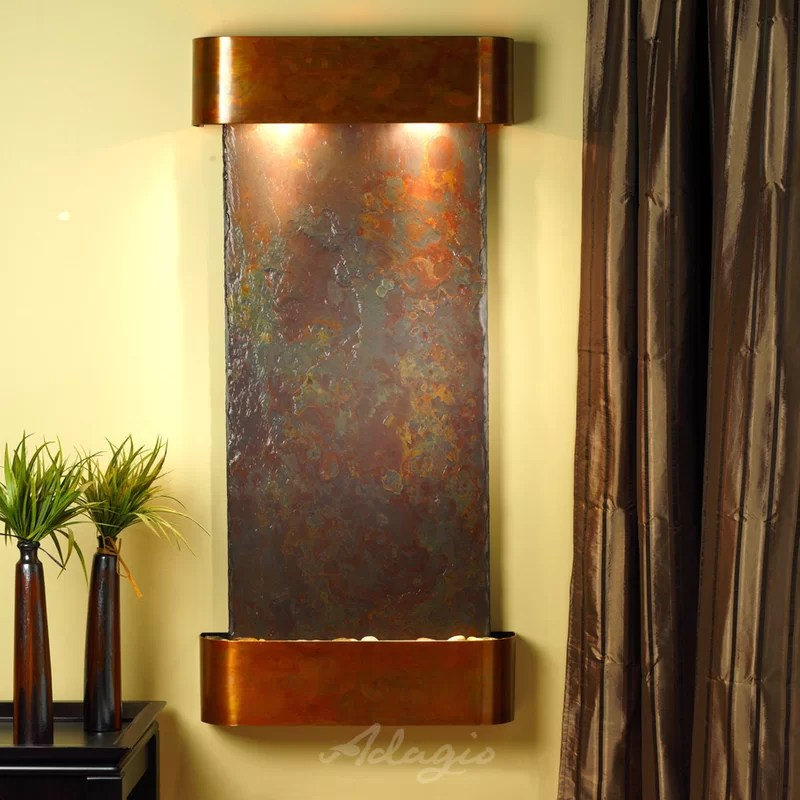 Cascade Springs Natural Stone/Metal Square Edges Wall Fountain with Light Metal: Copper Stone: Rajah (multi-color) Edges: Rounded