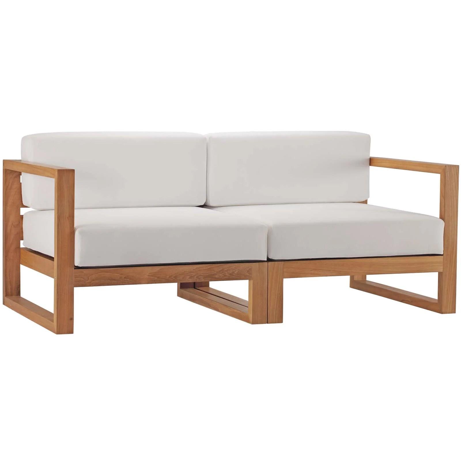 cambridge teak patio loveseat with cushions allmodern