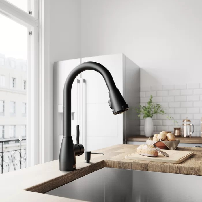dispenser kitchen tiles wall vigo graham pull down single handle faucet with optional soap