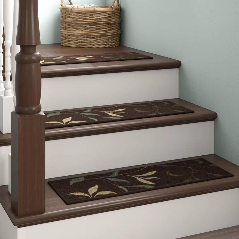 Red Barrel Studio® Arette Brown Stair Tread Reviews Wayfair   Wayfair Carpet Runners For Stairs   Stair Treads   Stair Rods   Area Rug   Wool Rug   Treads Carpet