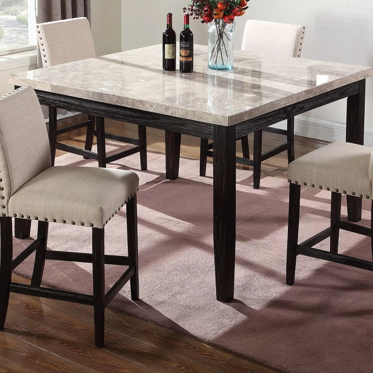 Alcott Hill Wilber Marble Counter Height Dining Table Reviews Wayfair