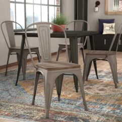 Industrial Metal Chairs White Wood Rocking Chair Canada Wayfair Linneus Solid Dining Set Of 4
