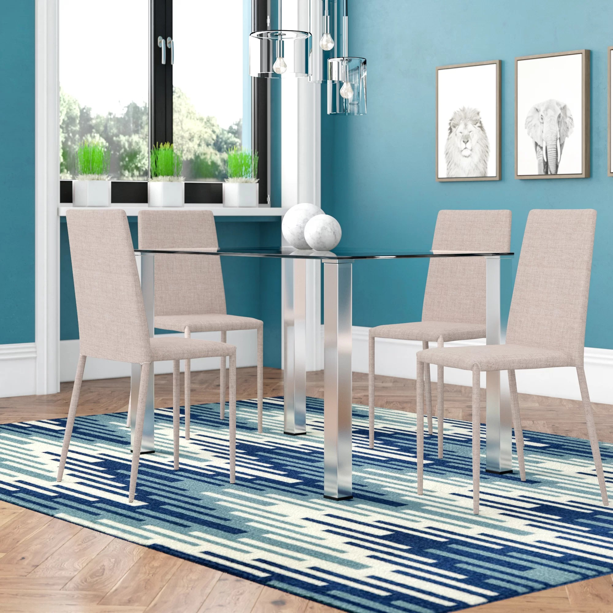 Aqua Dining Chairs Celine Dining Set With 4 Chairs