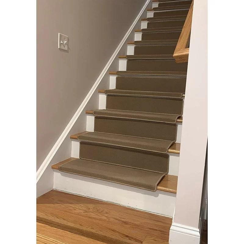 Winston Porter Thisnes Bullnose Beige Stair Tread Wayfair   Wayfair Stair Tread Rugs   Bullnose Carpet   Tucker Murphy   Slip Backing   Non Slip Stair   Skid Resistant