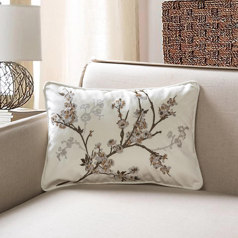 balzer cherry blossom embroidery rectangular velvet pillow cover