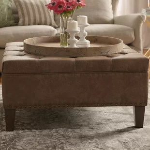 sigler 35 5 wide faux leather tufted square cocktail ottoman