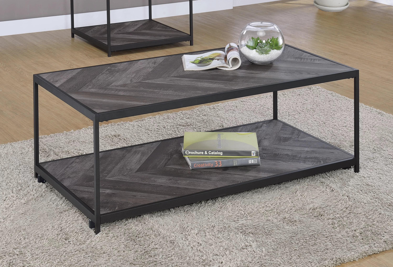 stever 1 shelf coffee table with casters rustic grey herringbone