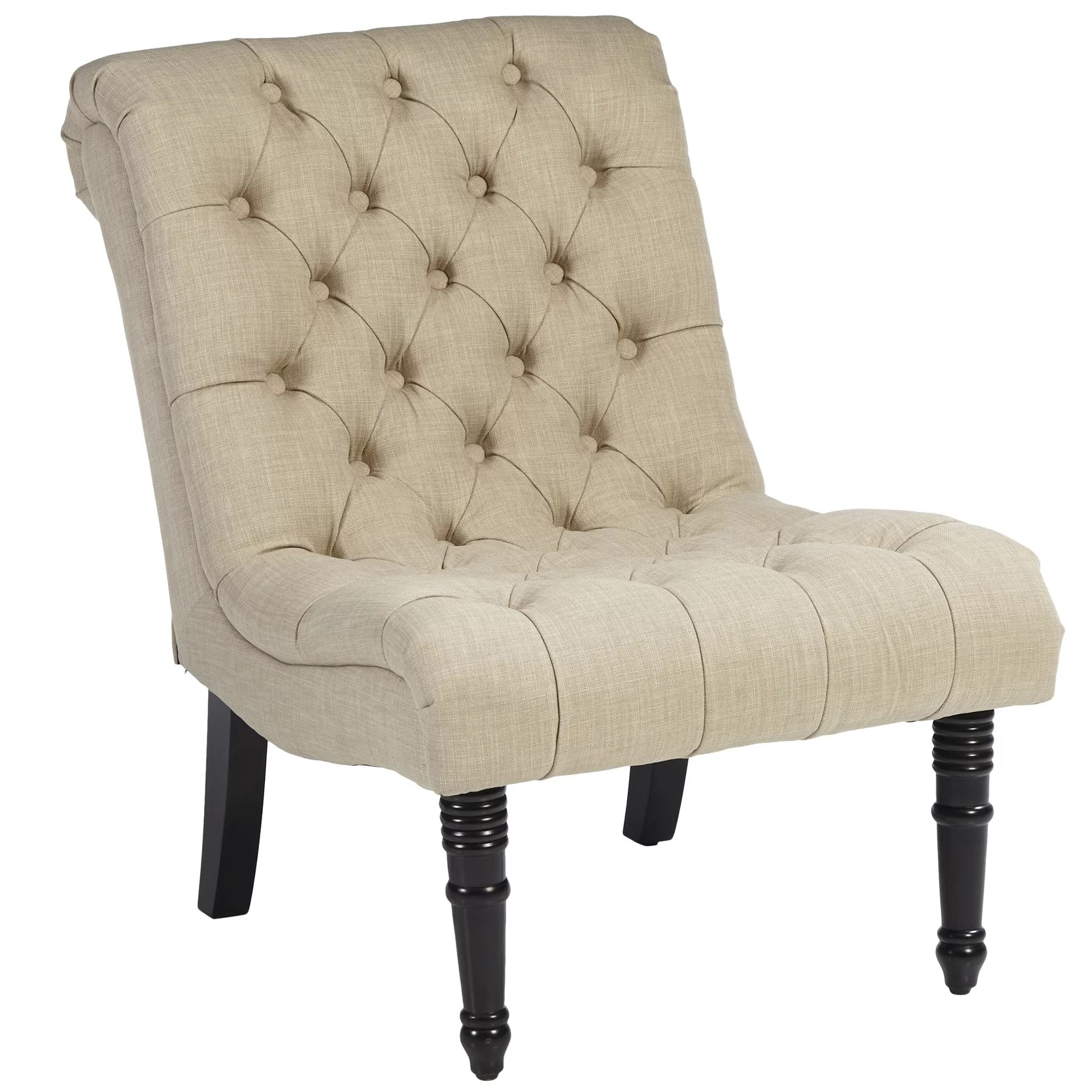 Tufted Slipper Chair Alcott Hill Clarke Scroll Back Tufted Slipper Chair