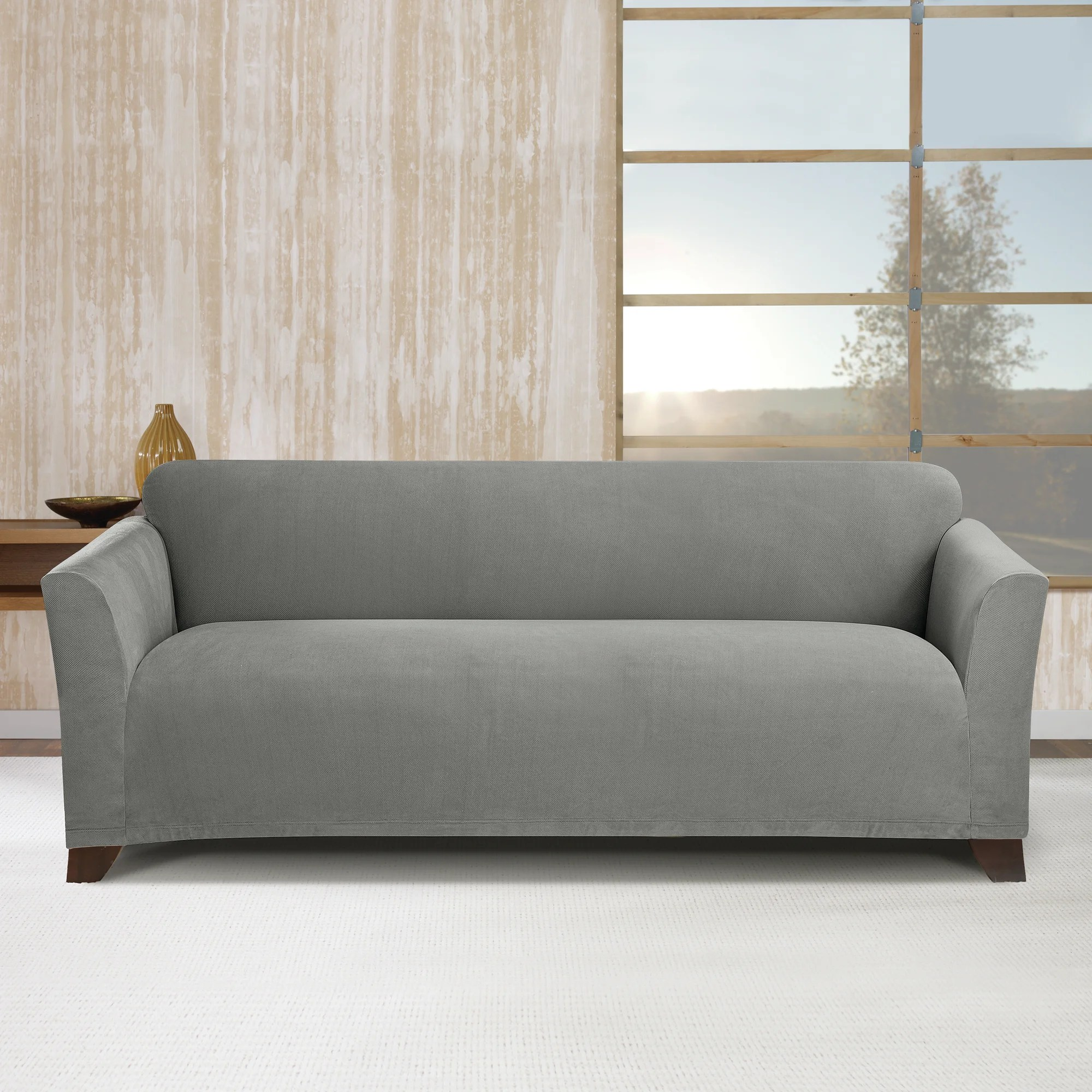 stretch morgan 1 piece sofa furniture cover outdoor l shaped sure fit simple subway box cushion slipcover