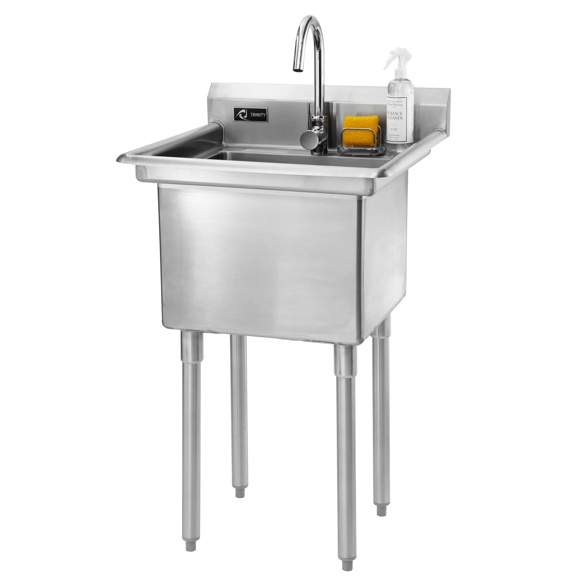 Trinity 23quot X 23quot Single Stainless Steel Utility Sink With