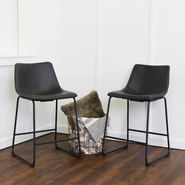 Faux Leather Counter Height Bar Stools