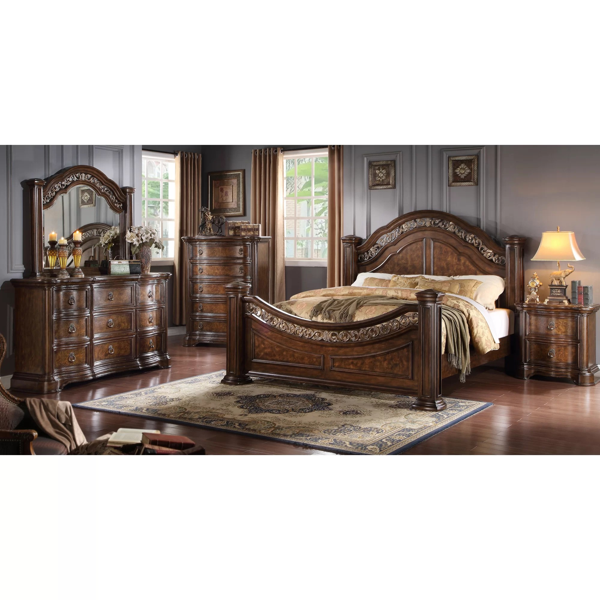 Roundhill Furniture Boulogne Wood Panel Customizable