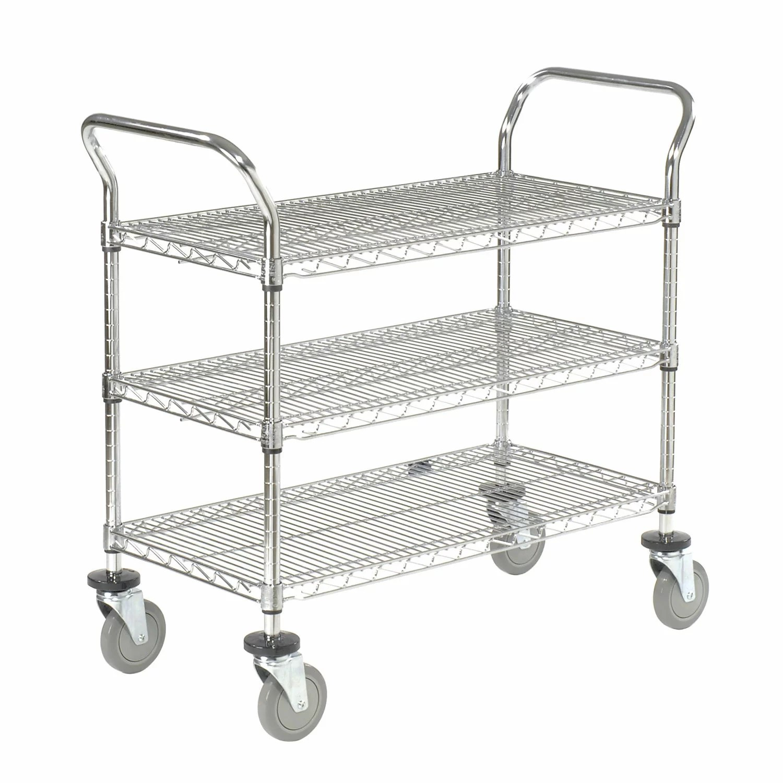 Details About Nexel 3 Shelf Utility Cart With Braking Casters 39 H X 42 W X 21 D