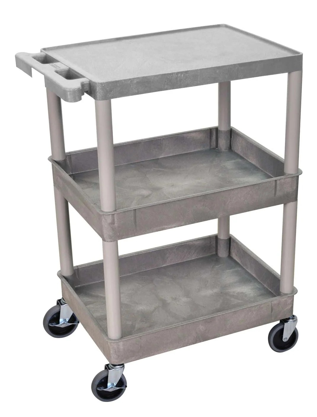 Offex Flat Top And Tub Middle Bottom Shelf Utility Cart