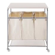 Triple Sorter Laundry Cart Hamper with Ironing Board