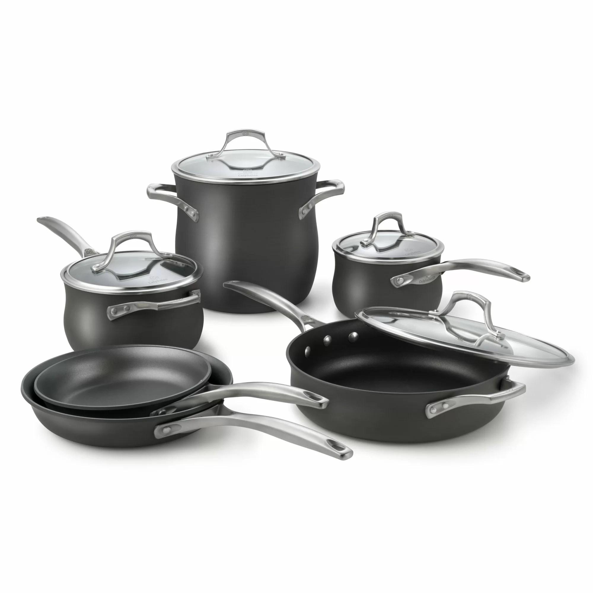 calphalon kitchen essentials electric appliances unison nonstick 10 piece cookware set and reviews
