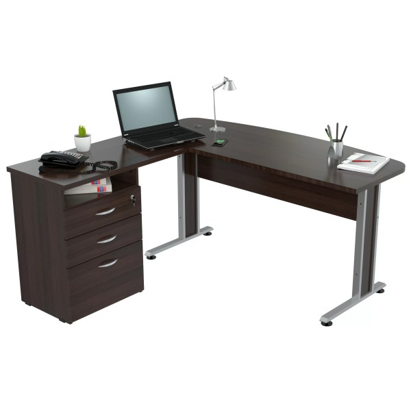 Inval Curved Top L-shape Computer Desk &