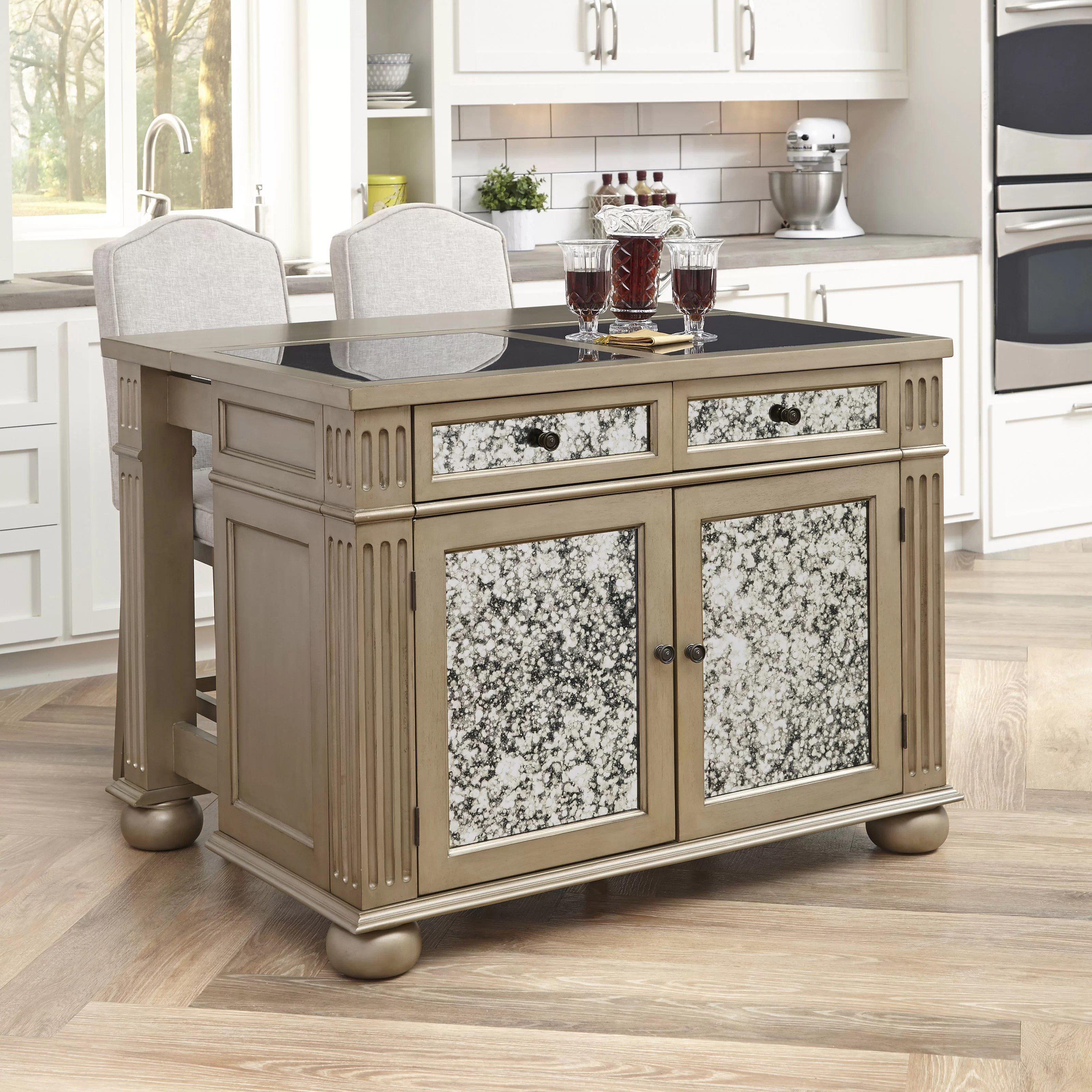 Home Styles Visions Kitchen Island Set With Granite Top