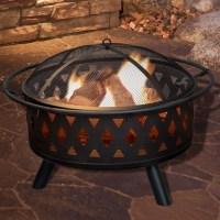 Pure Garden Crossweave Steel Wood Fire Pit & Reviews | Wayfair