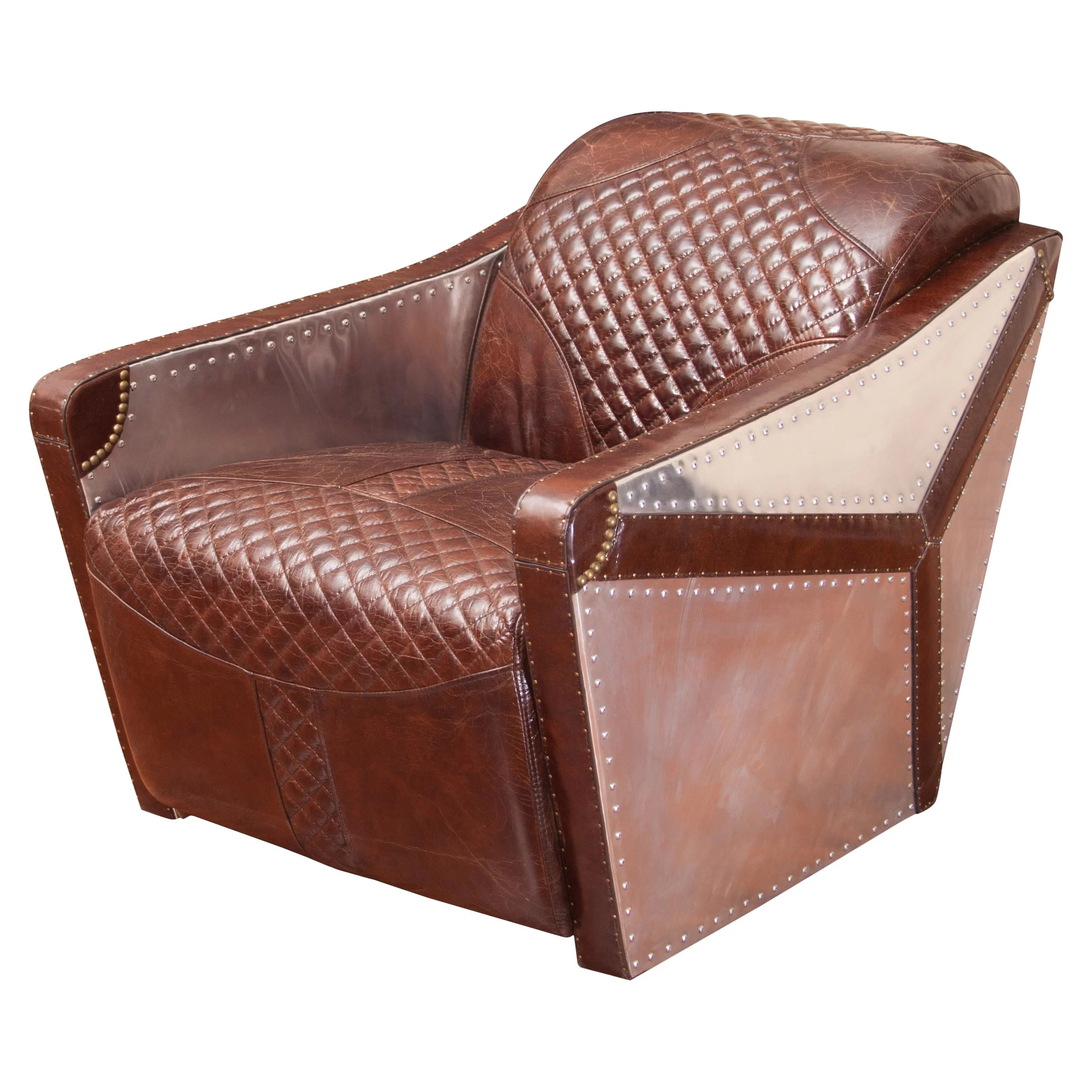 Metal And Leather Chair Home Loft Concepts Moore Leather And Metal Club Chair