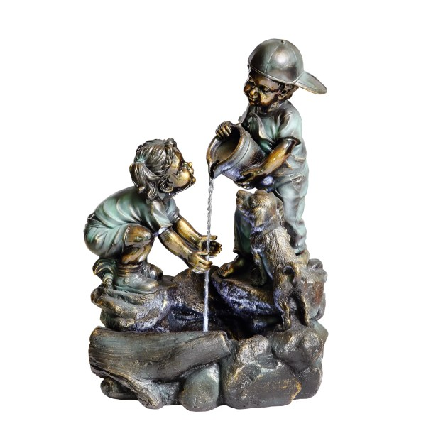 Beckett Resin Helping Hand Boy And Girl Fountain