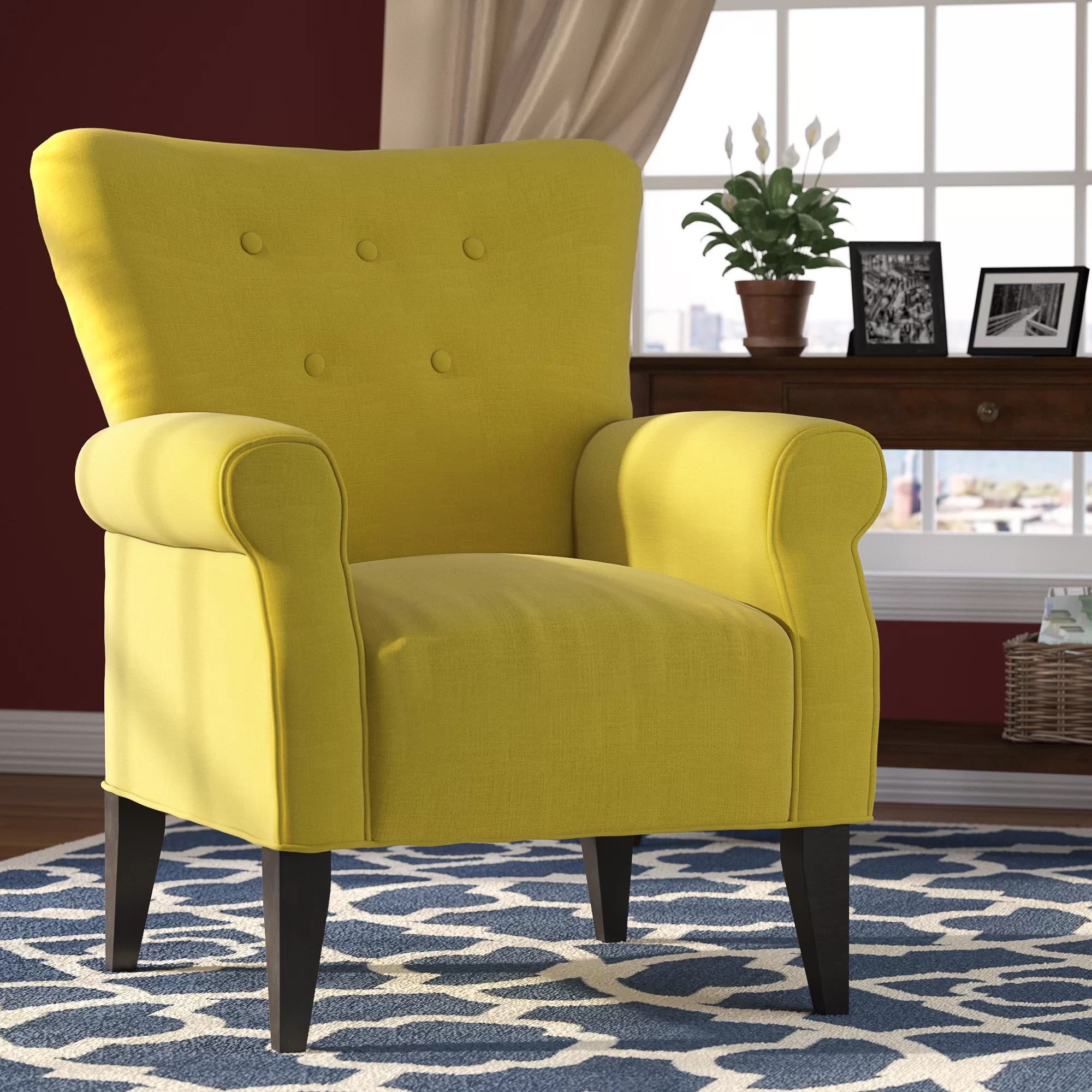 Side Chairs With Arms For Living Room Alcott Hill Delia Button Back Arm Chair And Reviews Wayfair