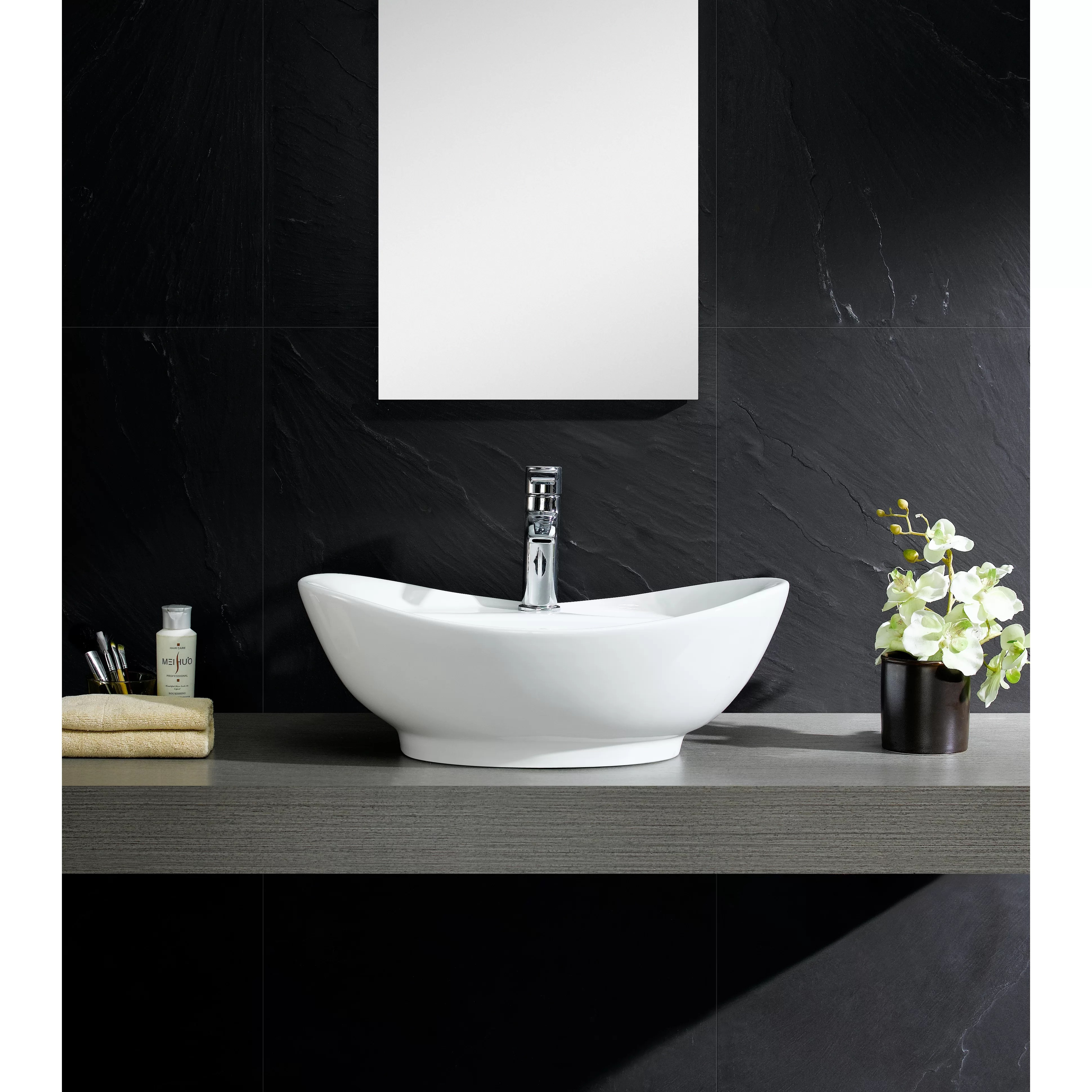 Fine Fixtures Modern Vitreous Large Oval Vessel Sink Vessel Bathroom Sink with Overflow