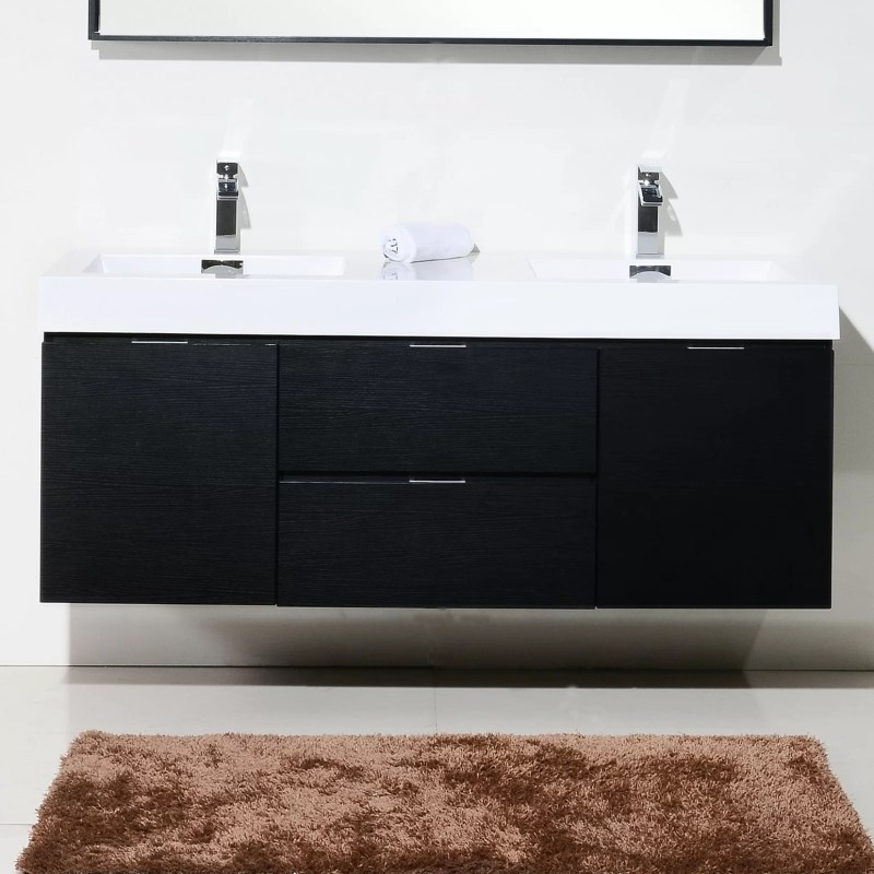 Double Wall Mount Modern Bathroom Vanity Set