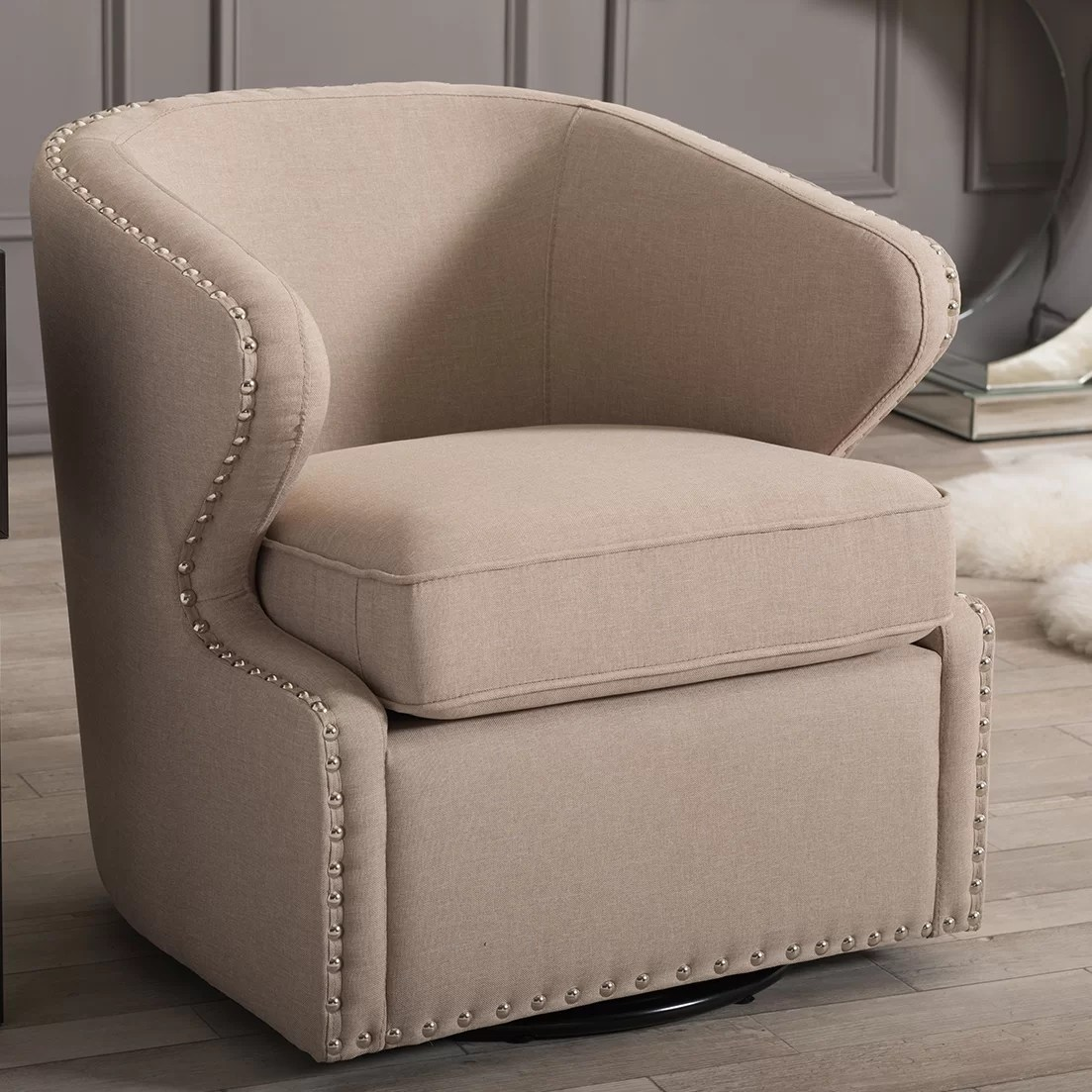 Upholstered Arm Chairs Latitude Run Microscopium Upholstered Swivel Wingback Arm