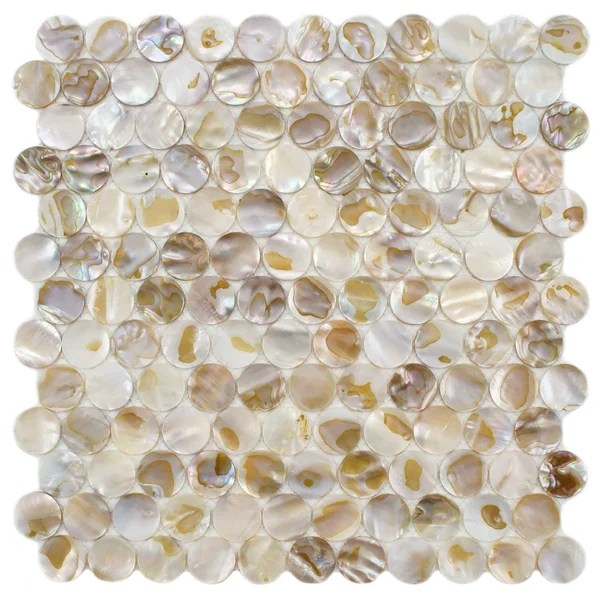 "Shayla 1"" x 1"" Seashell Mosaic Tile in Natural & Reviews"