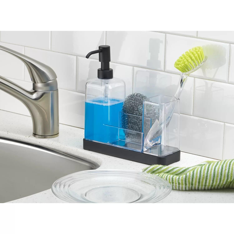 kitchen dish soap dispenser sink pipe interdesign forma pump sponge