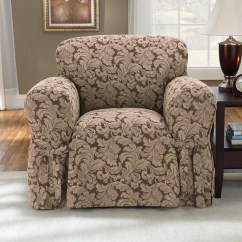 Club Chair Slipcover Space Saving Desk Sure Fit Scroll Classic Armchair Skirted