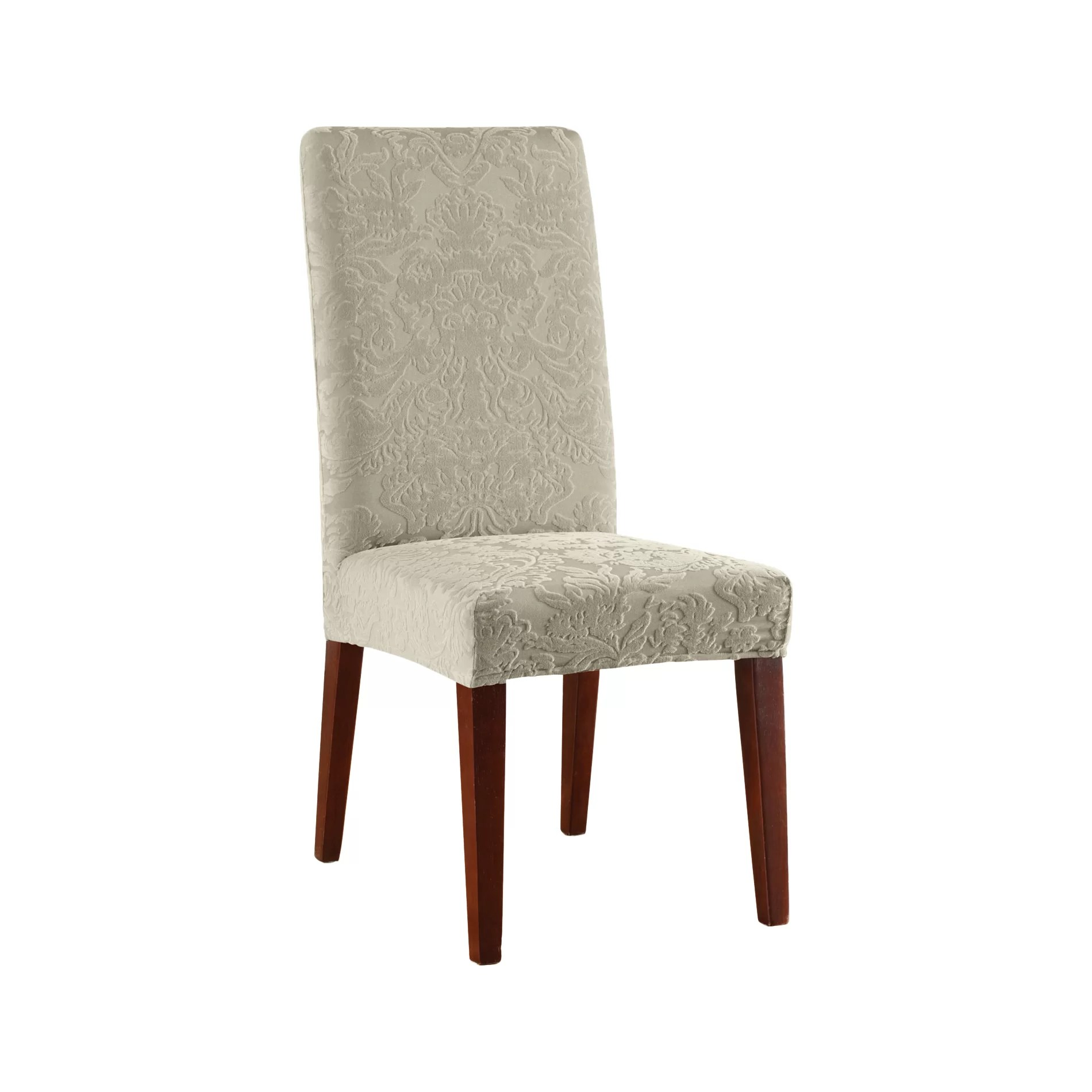 sure fit parsons chair slipcovers gym as seen on tv stretch jacquard damask dining slipcover