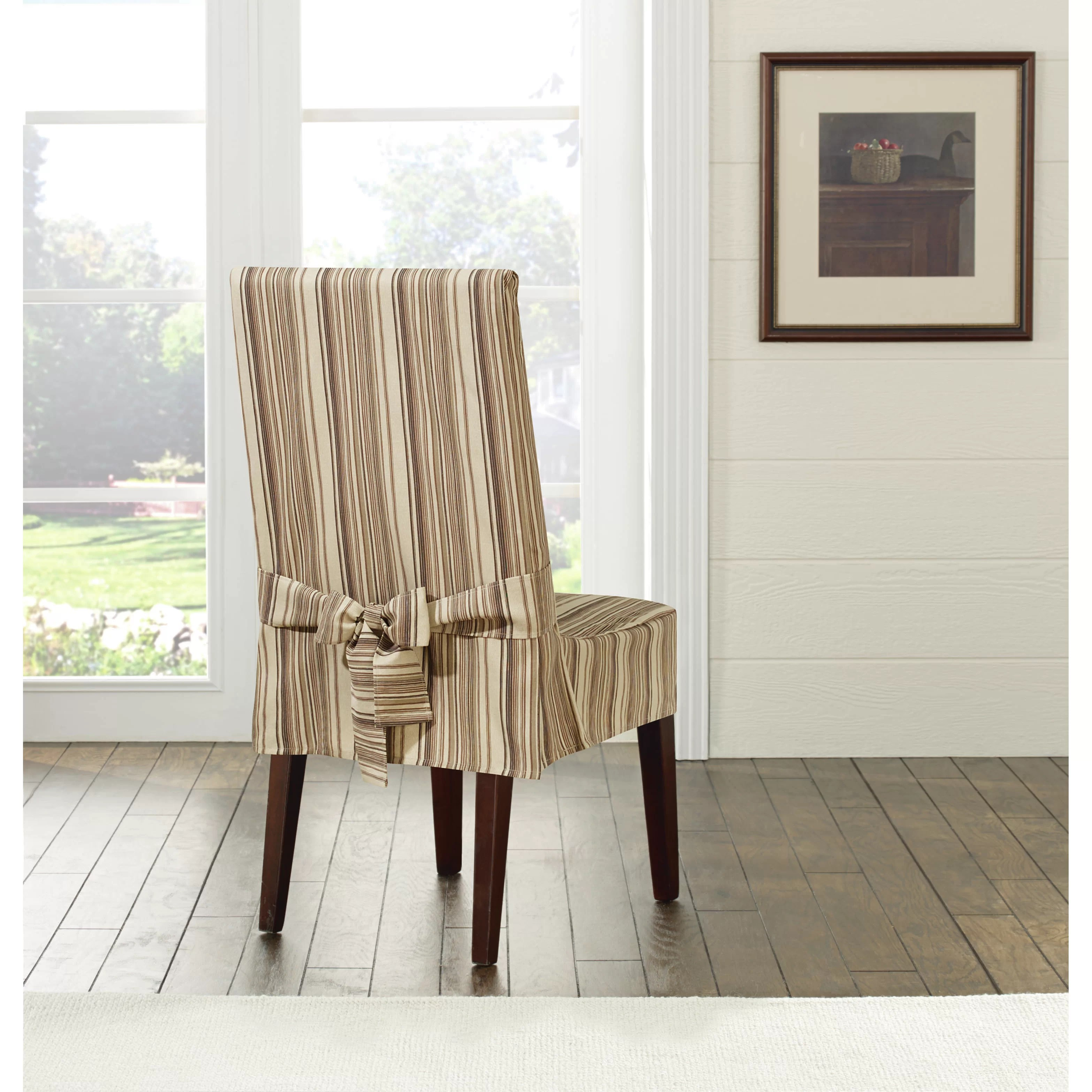 striped chair covers dining rooms fisher price activity sure fit harbor stripe slipcover and reviews