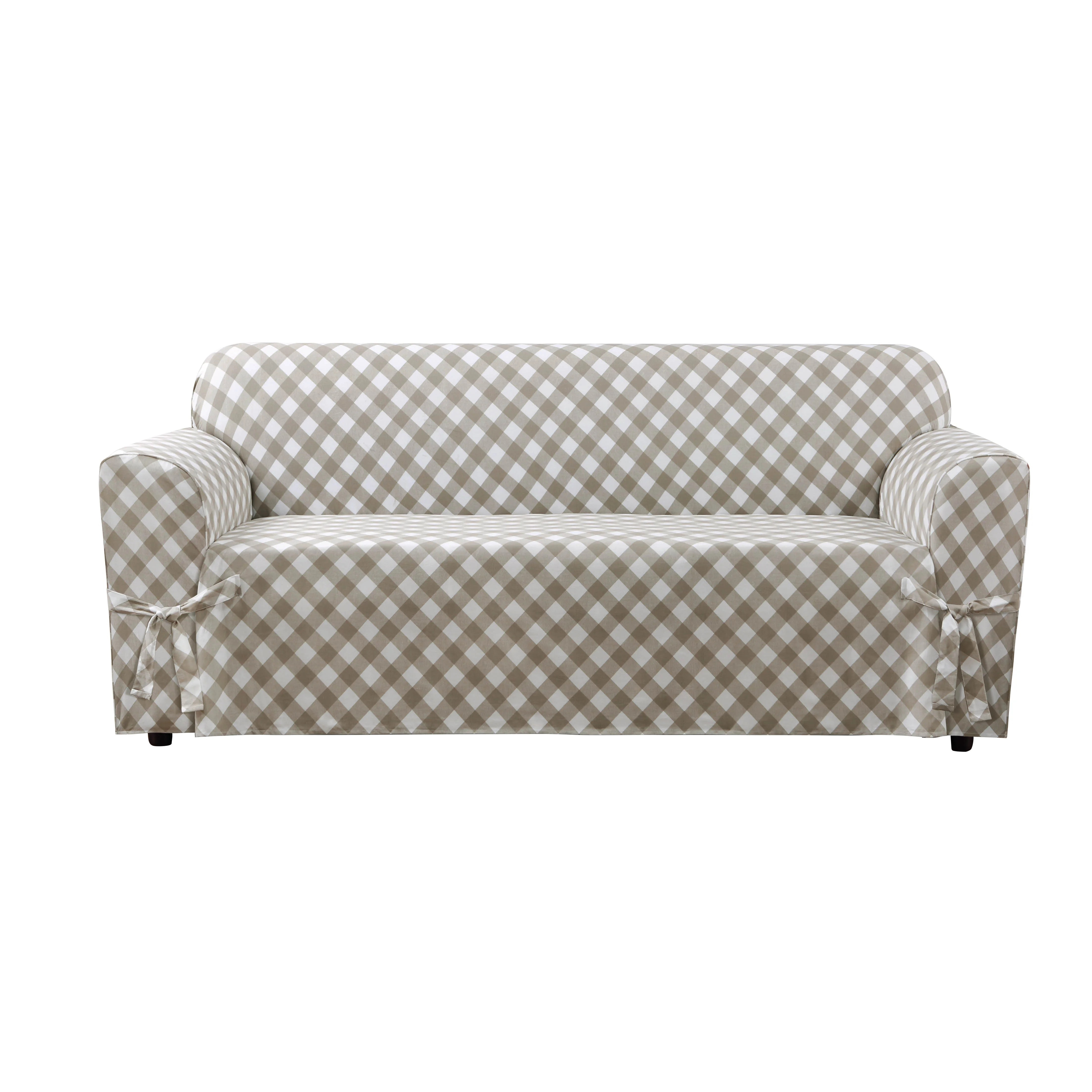 buffalo check sofa cover sure fit covers clearance skirted slipcover and reviews