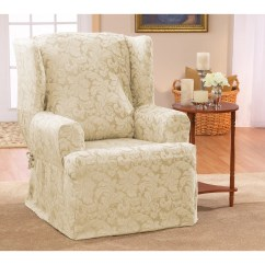 Sure Fit Chair Covers Bed Bath And Beyond Windsor Makers Scroll Classic Wing T Cushion Skirted