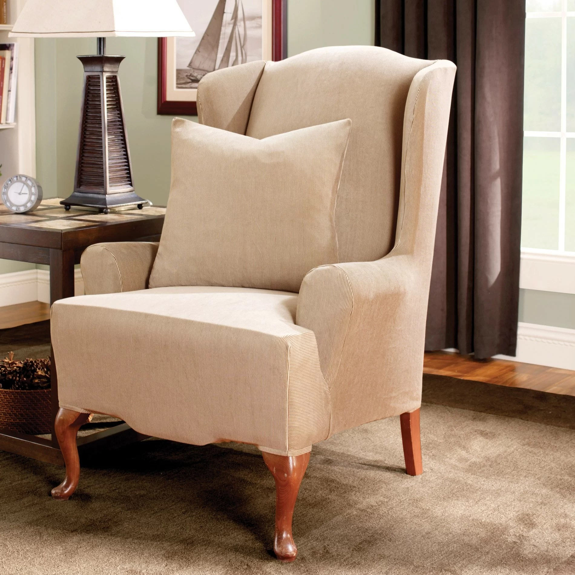 Wing Chair Slipcovers Sure Fit Stretch Stripe Wingback Chair T Cushion Slipcover