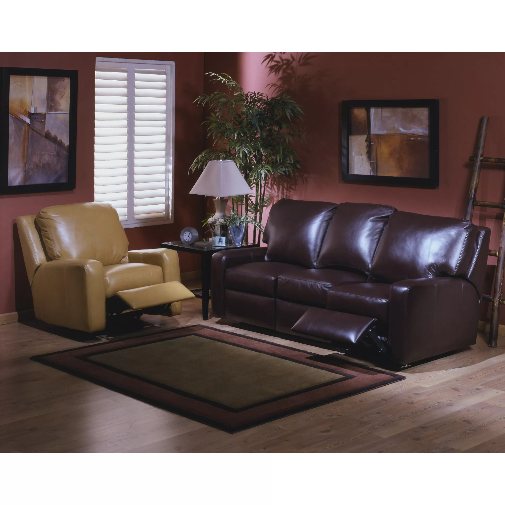 four seat sofa set reclining with drop down table omnia leather mirage 4 living room