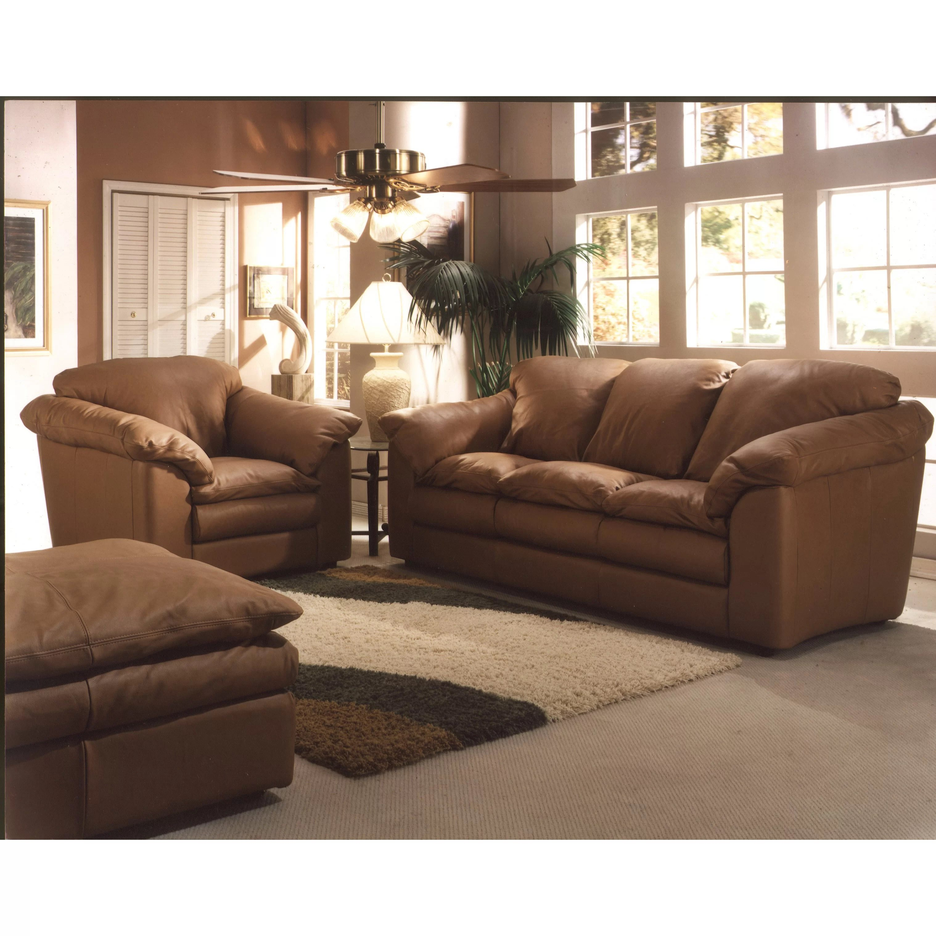 Leather Living Room Chair Omnia Leather Oregon 3 Seat Leather Living Room Set