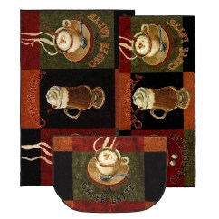 3 Piece Kitchen Rug Set Pictures Of Outdoor Kitchens Mohawk Home New Wave Caffe Latte Area