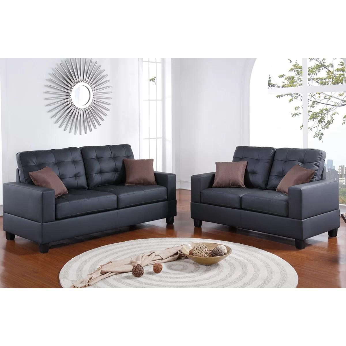 bobkona sofa set red corduroy sofas poundex aria 2 piece and loveseat