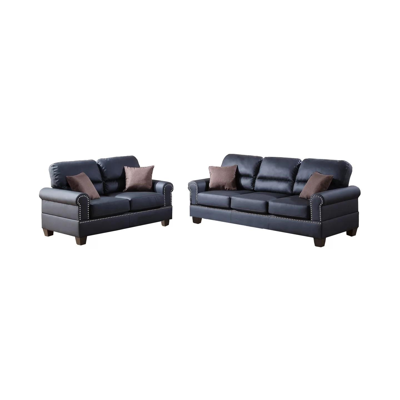 poundex bobkona arcadia sofa and loveseat set chaise grey shelton 2 piece